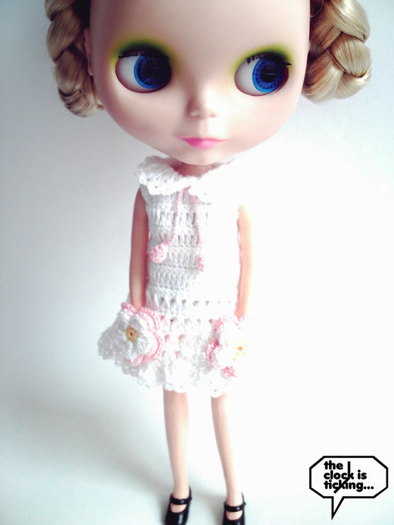 Two flower pockets dress (White) for Blythe