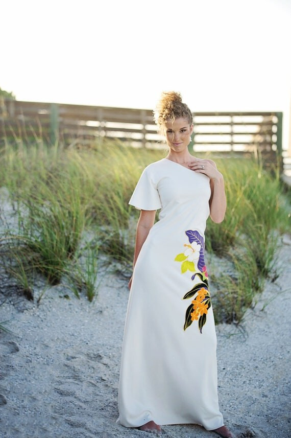 Hawaiian Wedding Dress One Shoulder was 599.00 now 399.00 reserved for LASUMA