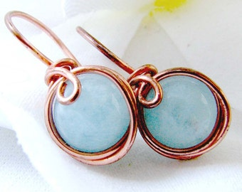 Aquamarine Earrings Copper One Piece Wire Wrapped Earrings E360