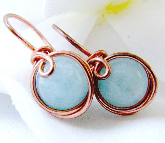 Copper Aquamarine Earrings  Wire Wrapped  Illusion Earrings E360