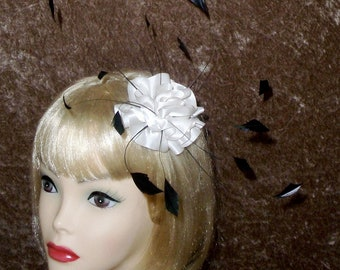 Custom Made Ivory and Black Feather Fascinator Headband by Taissa Lada,Bridal Headpiece,Vintage Inspired Fascinator,Pageant,Prom,Vaudeville