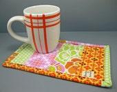 Mug Rug with modern fabrics - modern gift for tea or coffee drinkers teacher gift- - pink orange green - gift under 15