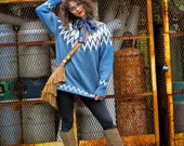 Blue Over-sized Wool Knit Sweater