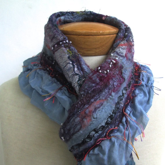 Cornflower blue nuno felted scarf