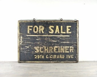 Vintage Wooden Advertising Sign - 19th Century