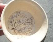 Hand Crafted Vintage Leaf Pottery Bowl Artist Signed