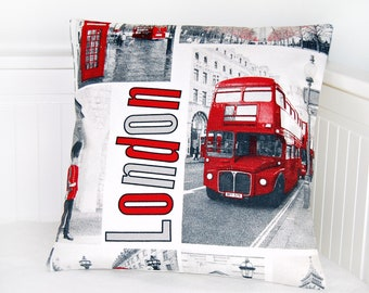RESERVED London cushion cover, UK red bus, telephone box, pillow cover 16 inch