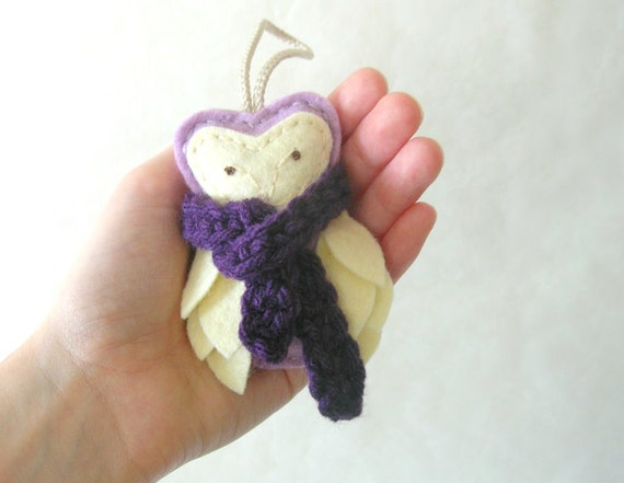 Felt Owl Ornament with Scarf, Hostess Gift, Purple, Christmas Ornament Winter Home Decor by OrdinaryMommy on Etsy