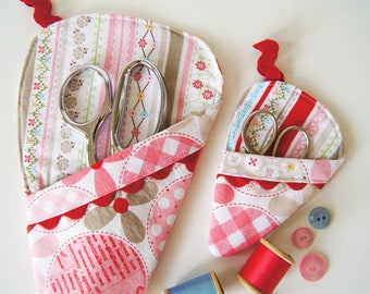 Scissor Sleeve -  Polka Dot and Stiches in pink