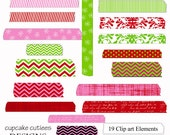 Christmas Washi Tape Eigital Clipart Elements Commercial use Instant Download