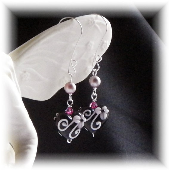 Diva Drops -Lampwork Glass Heart Earrings in Black with Pink Accents