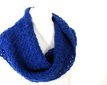 Handmade Crocheted Royal Blue Twisted Scarf - Infinity Shawl for Adult Female