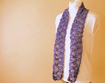 Handknit Purple Cotton Lace Skinny Accent Fashion Scarf for Adult Female