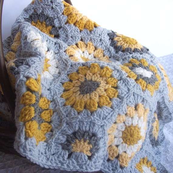 Crochet Hexagon Blanket Granny Square Grey Gray