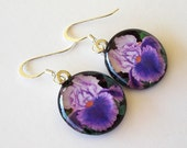 Iris Jewelry Earrings Lavender and Purple Art Glass Dangles