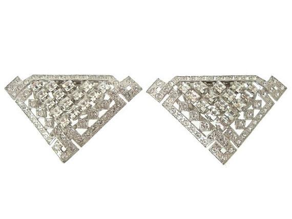 Art Deco Dress Clips Vintage French Cut Rhinestones 1930s Wedding Jewelry
