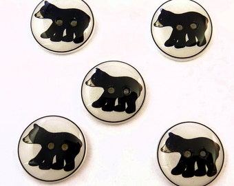 "Black Bear buttons. Handmade buttons. Set of 5 Buttons for Sewing. 3/4"" or 20 mm round."