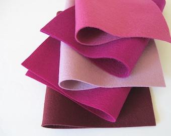 100% Wool, Berry Color Story, Felt Fabric Set, DIY Flowers, Wool Applique, Five Sheets, Soft Plum, Mulberry, Raspberry, Red-Violet, Merlot