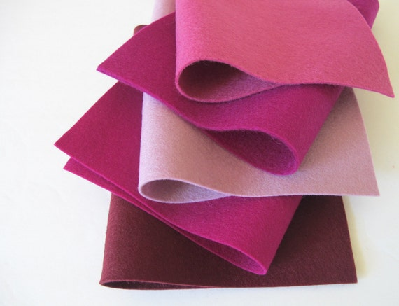 100% Wool, Berry Color Story, Felt Fabric Set, DIY Flowers, Wool Applique, Five Sheets, Soft Plum, Mulberry, Raspberry, Red-Violet, Merlot