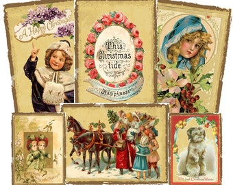 "Old Fashion Christmas Images Collage, ACEO 2.5"" x 3.5"", Digital Download, Printable, Children, Santa, Holiday Decoration, Gift tag"