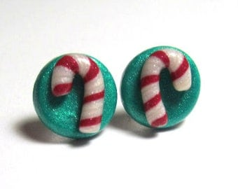 Candy Cane Polymer Clay Stud Earrings- Surgical Steel