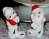 Mr. and Mrs. Santa Claus 1950s Ceramic Figurine  Retro Japan Kitsch