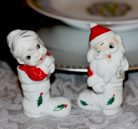 Mr and mrs santa claus s ceramic figurine retro japan