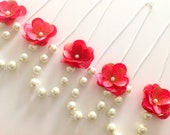 Reserved for Catherine - 5 Flower Pearl Bridesmaid Sets