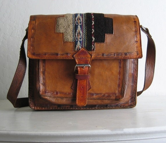 vintage 1970s TOOLED LEATHER and ETHNIC fabric purse