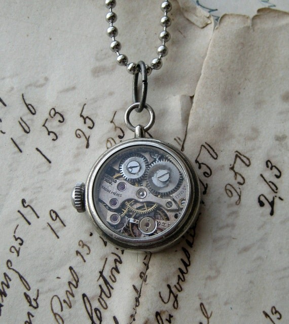Industrial Steampunk Necklace vintage mechanical watch movement clock parts silver setting