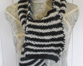 Black and  White  Hand Knit Striped Unisex  Warm Wool Scarf