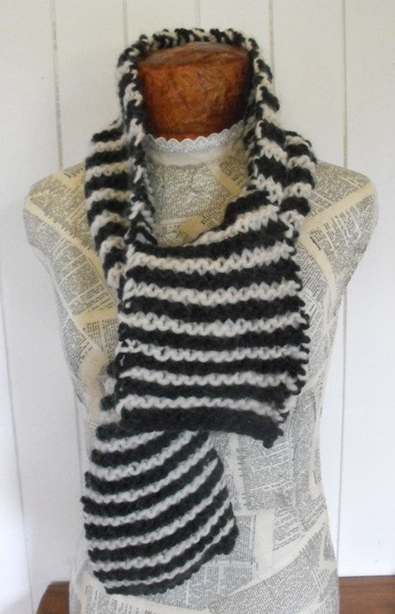 50 % Off Black and  White  Hand Knit Striped Unisex  Warm Wool Scarf