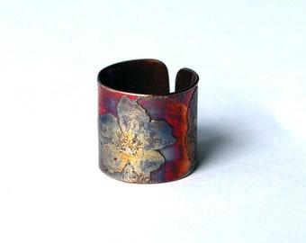 Etched Copper Flower Ring - Adjustable size