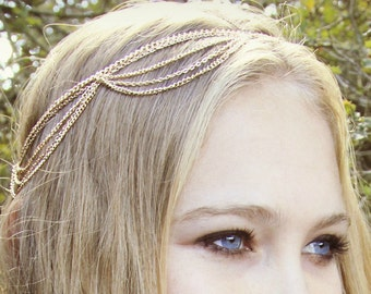 CHAIN HEADPIECE-  chain headdress bohemian head chain chain headpiece- original designer / boho chic