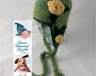 Crochet Pattern 075 - Mom's Rose Beanie Hat - All Sizes