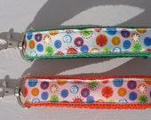 Key fob Keychain wristlet bold colorful ribbon on green or orange webbing