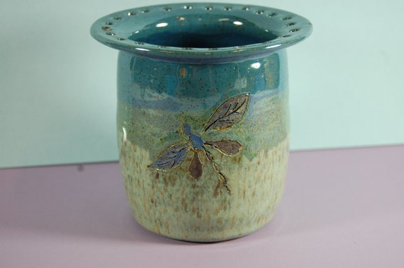 Pottery Dragonfly Earring Jewelry Holder Deep Blue With Blue Green Glaze