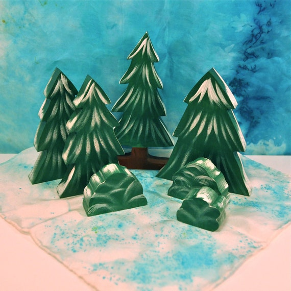 Waldorf Toy - Wooden Toy Tree, Winter Forest Play set - Landscape Play