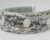 """Handmade Fiber Art Bracelet--Dove 1""""Wide"""