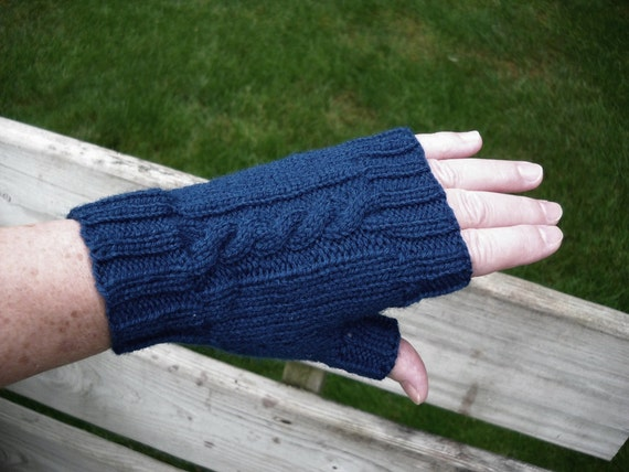 Fingerless Gloves with Thumb, Handknit fingerless mitts, cool weather wear, Navy Blue, One Size, Seamless, Vegan