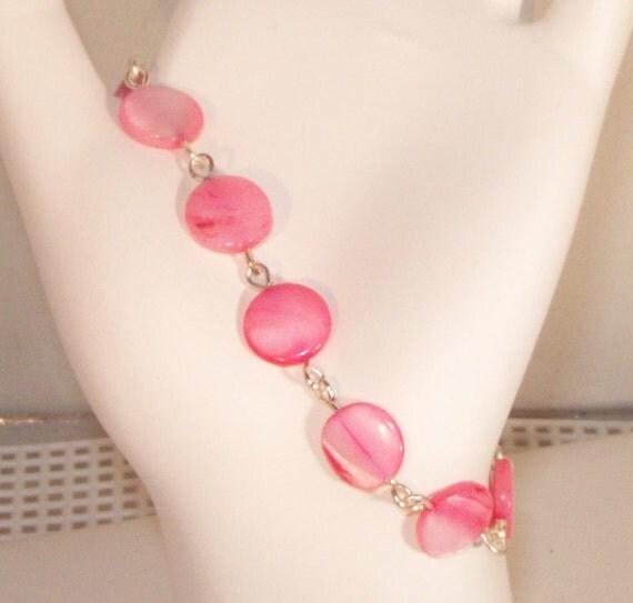 Mother of Pearl Bracelet & Earrings - Pink