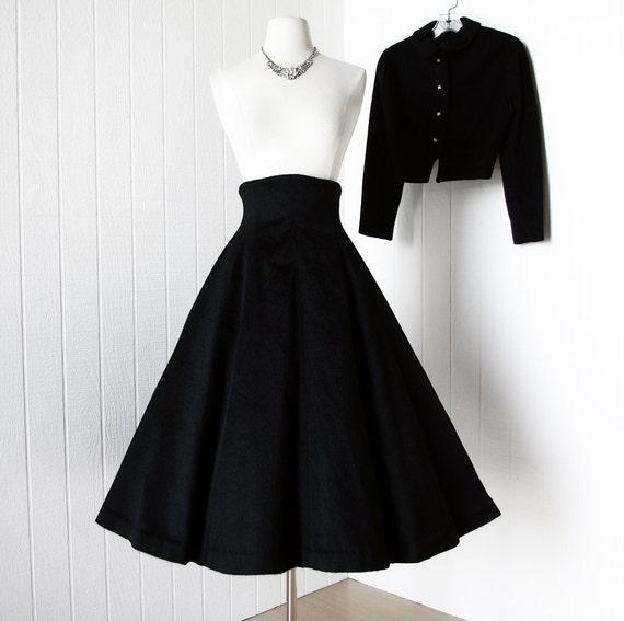 vintage 1950's dress ...exquisite HIGH WAIST black wool 2pc dress skirt jacket suit worn to jfk inauguration