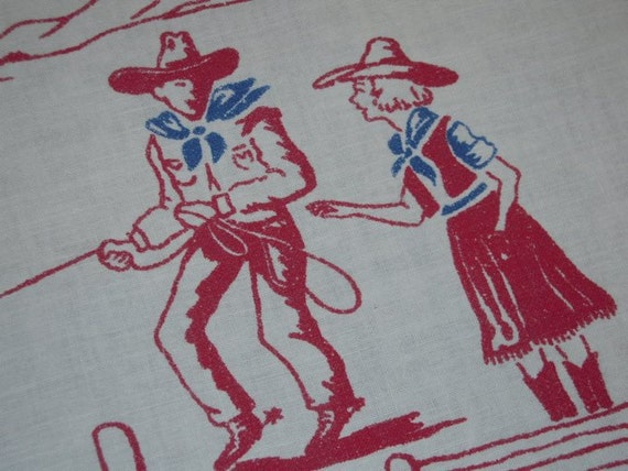 Vintage Cowboy Tablecloth RWB Rodeo Roping & Branding