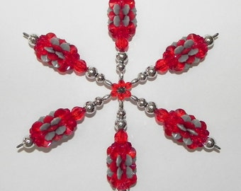 Snowflake Suncatcher Red Gray and Silver Ornament Plastic Windspinner in Team Colors   #11