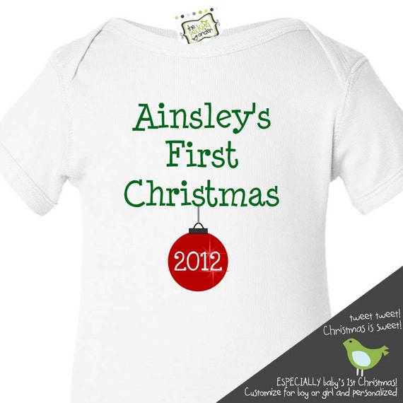 Babys first Christmas bodysuit or shirt 2015 ornament adorable for babys 1st holiday season