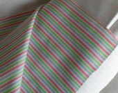 Blue Green White Pink Striped fabric 4 1/2 yards