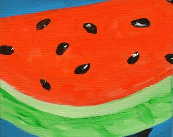 Watermelon, original acrylic painting on canvas, fruit painting, miniature painting, wall art, kitchen decor