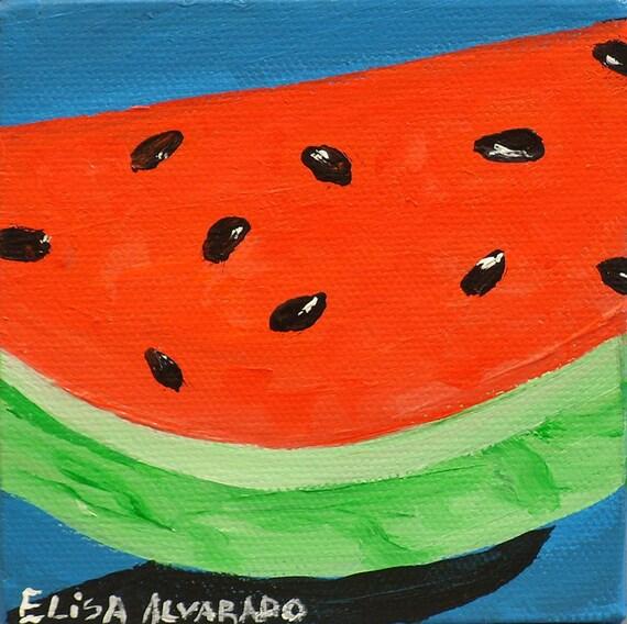 Watermelon, original acrylic painting on canvas, fruit painting, miniature painting, wall art, kitchen decor