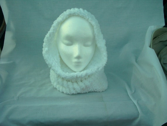 Snow White Cowl Scarf Hoodie Warm Soft Hoody Hand Made Free Shipping