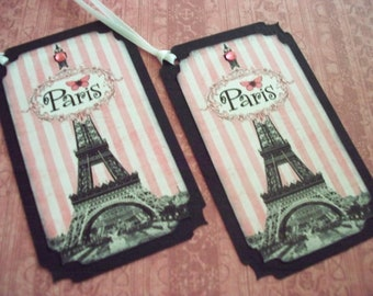 Paris Gift Tags Eiffel Tower French themed Pink and Black Butterfly Shabby Chic Vintage Style - Set of 6